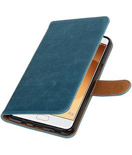 Blauw Pull-Up PU booktype wallet cover voor Hoesje voor Samsung Galaxy C9