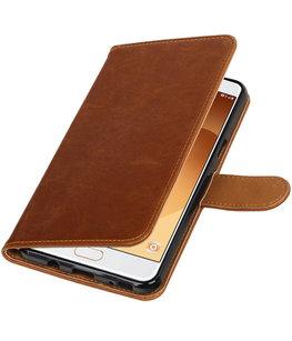 Bruin Pull-Up PU booktype wallet cover voor Hoesje voor Samsung Galaxy C9