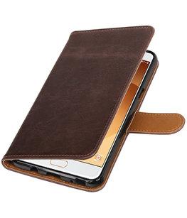Mocca Pull-Up PU booktype wallet cover voor Hoesje voor Samsung Galaxy C9