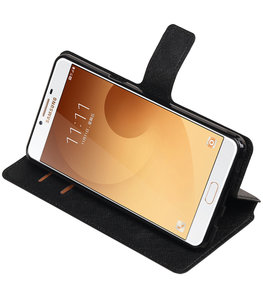 Zwart Hoesje voor Samsung Galaxy C9 TPU wallet case booktype HM Book
