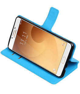 Blauw Hoesje voor Samsung Galaxy C9 TPU wallet case booktype HM Book