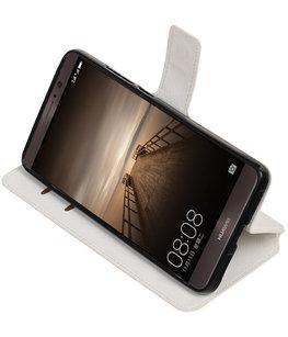 Wit Hoesje voor Huawei Mate 9 TPU wallet case booktype HM Book