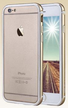 QY Goud Aluminium en TPU bumper voor Hoesje voor Apple iPhone 6 / 6s Plus