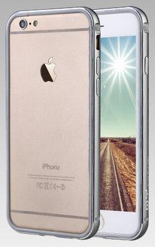 QY Grijs Aluminium en TPU bumper voor Hoesje voor Apple iPhone 6 Plus / 6s Plus