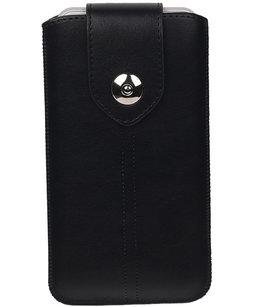 Universele Luxe Leder look insteekhoes/pouch - Zwart Medium