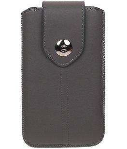 Universele Luxe Leder look insteekhoes/pouch - Grijs Medium