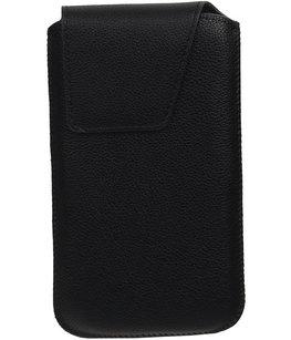 Universele Leder look insteekhoes/pouch Model 1 - Zwart Medium