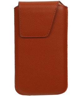 Universele Leder look insteekhoes/pouch Model 1 - Bruin Medium