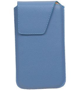 Universele Leder look insteekhoes/pouch Model 1 - Blauw Medium