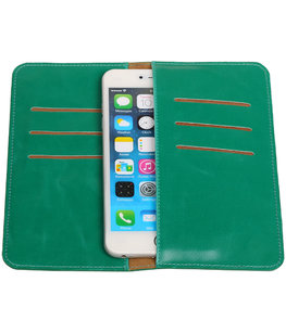 Universele Groen Pull-up Large Pu portemonnee wallet hoesje