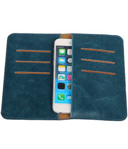 Universele Blauw Pull-up Medium Pu portemonnee wallet hoesje