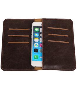 Universele Mocca Pull-up Medium Pu portemonnee wallet hoesje
