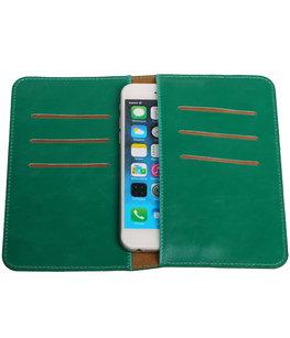 Universele Groen Pull-up Medium Pu portemonnee wallet hoesje