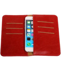 Universele Rood Pull-up Medium Pu portemonnee wallet hoesje