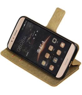 Goud Hoesje voor Huawei G8 TPU wallet case booktype HM Book