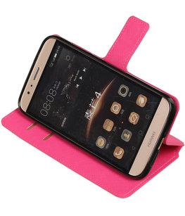 Roze Hoesje voor Huawei G8 TPU wallet case booktype HM Book