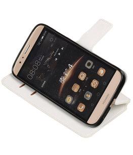 Wit Hoesje voor Huawei G8 TPU wallet case booktype HM Book