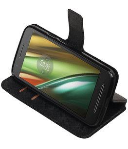 Zwart Hoesje voor Motorola Moto E3 TPU wallet case booktype HM Book