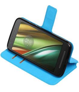 Blauw Hoesje voor Motorola Moto E3 TPU wallet case booktype HM Book
