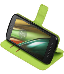 Groen Hoesje voor Motorola Moto E3 TPU wallet case booktype HM Book