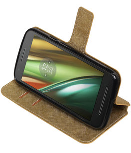Goud Hoesje voor Motorola Moto E3 TPU wallet case booktype HM Book