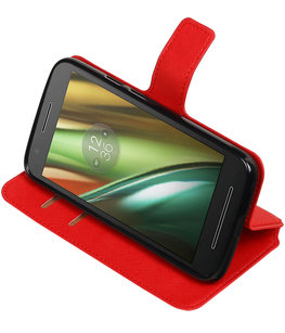 Rood Hoesje voor Motorola Moto E3 TPU wallet case booktype HM Book