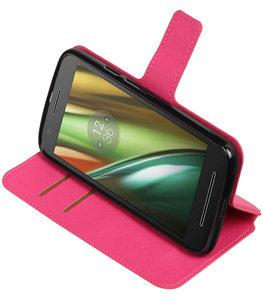 Roze Hoesje voor Motorola Moto E3 TPU wallet case booktype HM Book
