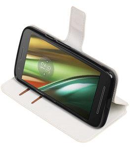 Wit Hoesje voor Motorola Moto E3 TPU wallet case booktype HM Book