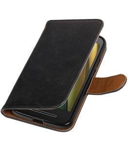 Zwart Pull-Up PU booktype wallet cover voor Hoesje voor Motorola Moto E3