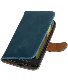 Blauw Pull-Up PU booktype wallet cover voor Hoesje voor Motorola Moto E3