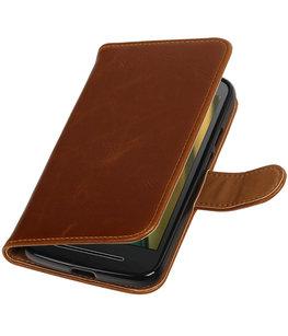 Bruin Pull-Up PU booktype wallet cover voor Hoesje voor Motorola Moto E3