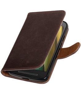 Mocca Pull-Up PU booktype wallet cover voor Hoesje voor Motorola Moto E3