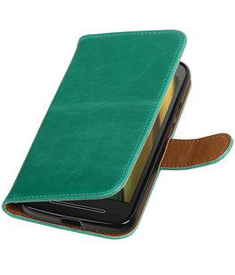 Groen Pull-Up PU booktype wallet cover voor Hoesje voor Motorola Moto E3