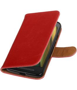 Rood Pull-Up PU booktype wallet cover voor Hoesje voor Motorola Moto E3