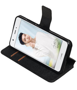 Zwart Hoesje voor Huawei Nova Plus TPU wallet case booktype HM Book
