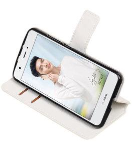Wit Hoesje voor Huawei Nova Plus TPU wallet case booktype HM Book