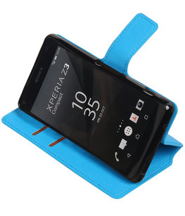 Blauw Hoesje voor Sony Xperia Z3 Compact TPU wallet case booktype HM Book