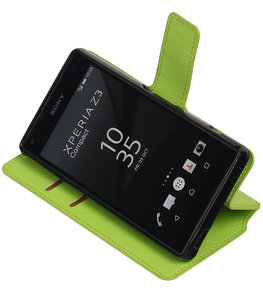 Groen Hoesje voor Sony Xperia Z3 Compact TPU wallet case booktype HM Book