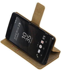 Goud Hoesje voor Sony Xperia Z3 Compact TPU wallet case booktype HM Book