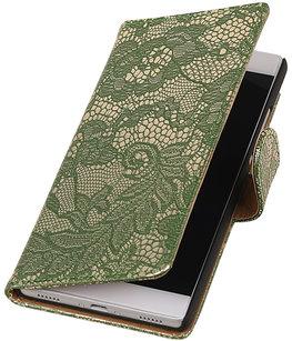 Donker Groen Lace booktype wallet cover voor Hoesje voor Huawei Y5 II / Y6 II Compact