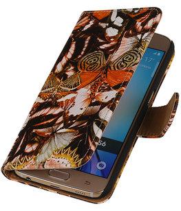 Geel Vlinder Booktype wallet voor Hoesje voor Apple iPhone 5 / 5s / SE