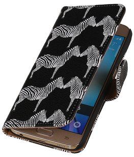 Zwart Zebra 2 Booktype wallet voor Hoesje voor Apple iPhone 5 / 5s / SE
