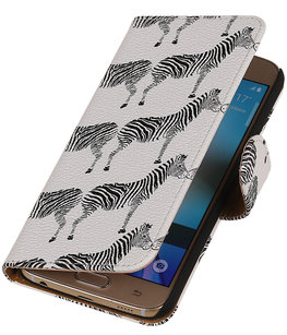 Wit Zebra 2 Booktype wallet voor Hoesje voor Apple iPhone 5 / 5s / SE