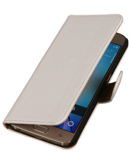 Wit Leder Look Booktype wallet voor Hoesje voor Apple iPhone 5 / 5s / SE