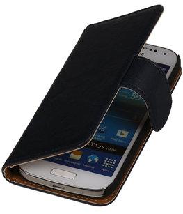 Donker Blauw Echt Leer Leder booktype wallet voor Hoesje voor Huawei Ascend G525