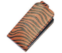Donker Bruin Zebra Classic Flip case voor Hoesje voor Samsung Galaxy Fame S6810