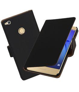 Zwart Effen booktype wallet cover voor Hoesje voor Huawei P8 Lite 2017 / P9 Lite 2017
