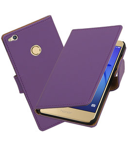 Paars Effen booktype wallet cover voor Hoesje voor Huawei P8 Lite 2017 / P9 Lite 2017