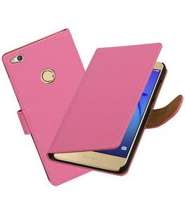 Roze Effen booktype wallet cover voor Hoesje voor Huawei P8 Lite 2017 / P9 Lite 2017