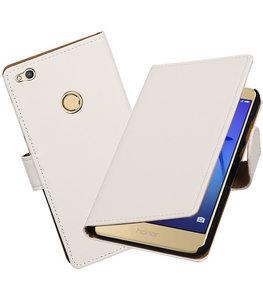 Wit Effen booktype wallet cover voor Hoesje voor Huawei P8 Lite 2017 / P9 Lite 2017